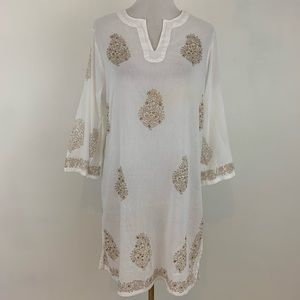 Peppermint Bay White Sequined Tunic Top Coverup